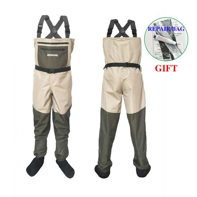 Fly wodery wędkarskie odzież przenośne kombinezony w klatce piersiowej wodoodporne ubrania spodnie brodzące Stocking Foot dobre jak Daiwa na buty rybne
