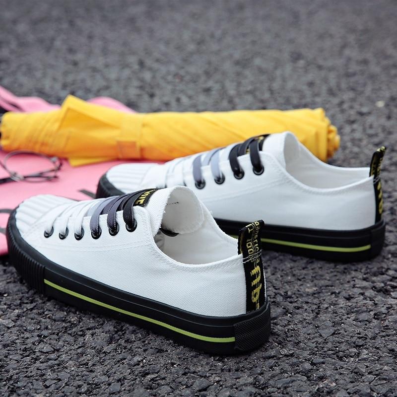 Однотонная парусиновая обувь 2018 Весна и осень модная повседневная обувь женская обувь вулканизированной Парусиновая обувь на плоской подо...