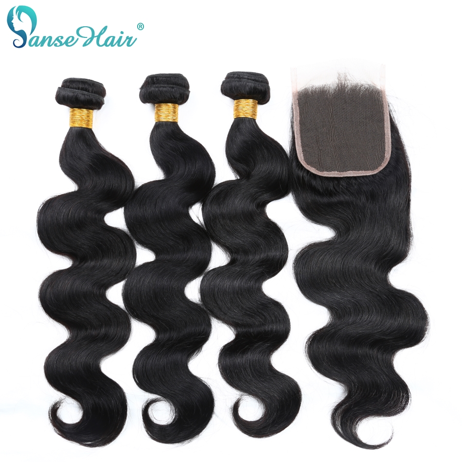 Panse Hair Brazilian Hair Body Wave Human Hair 3 Bundles With Lace Closure 4X4 Non Remy