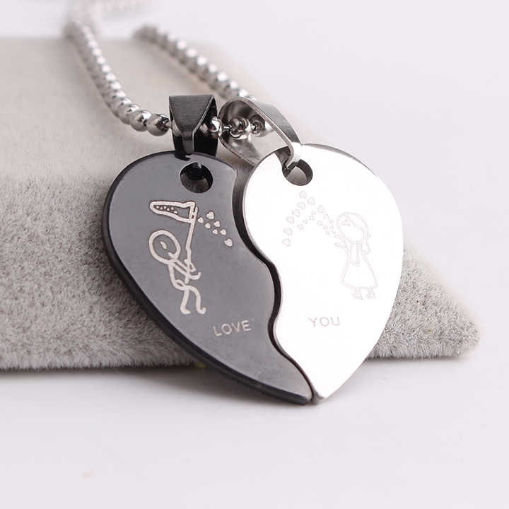 free shipping Lovers boy girl small Wave hearts LOVE YOU 316L Stainless Steel pendant necklaces for men women wholesale