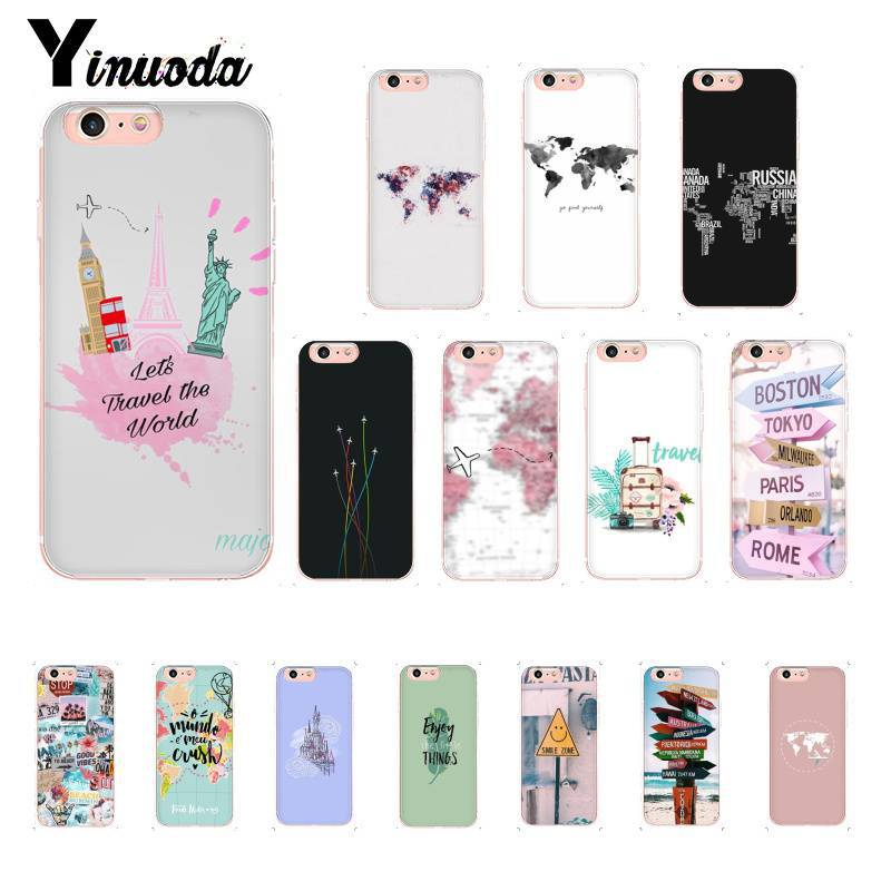 Yinuoda Travel around the world TPU Phone Case Cover Shell for iPhone X XS MAX  6 6s 7 7plus 8 8Plus 5 5S SE XR 10