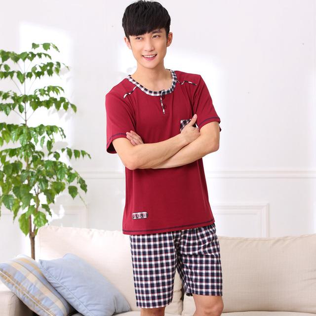 Verano de Algodón Para Hombre Camisa de Manga cuello Redondo Pijamas establece Classic plaid estilo Shorts Pijama Traje Hombre Homewear ropa de Dormir 012