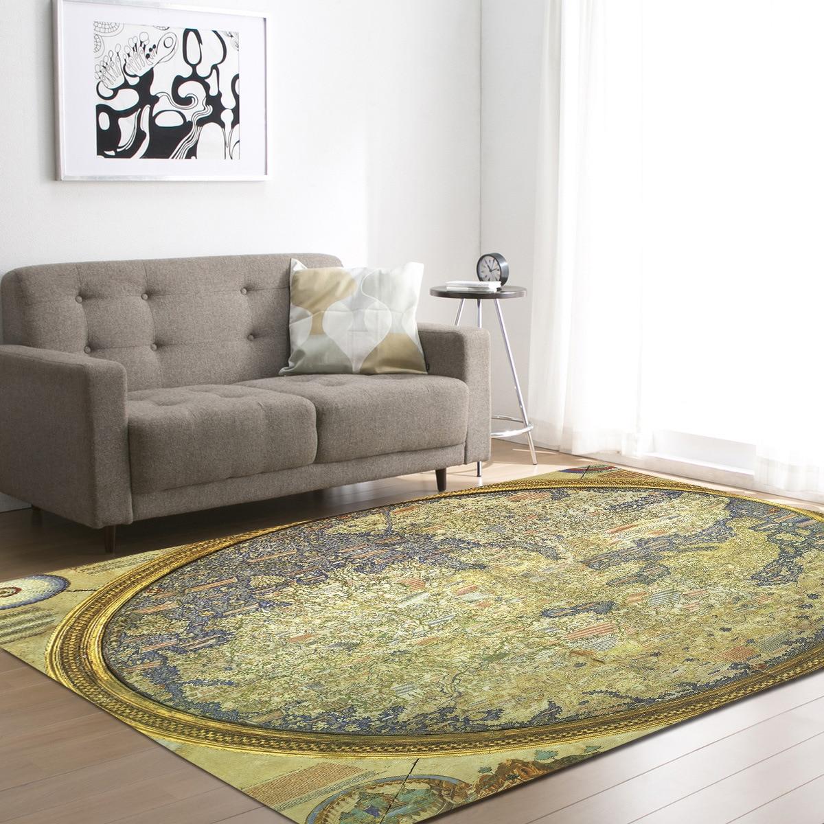 World Map Floor Mat Carpets For Living Room Anti-slip Office Chair Rugs Bedroom Carpets Kids Study Room Bedside Area Rug