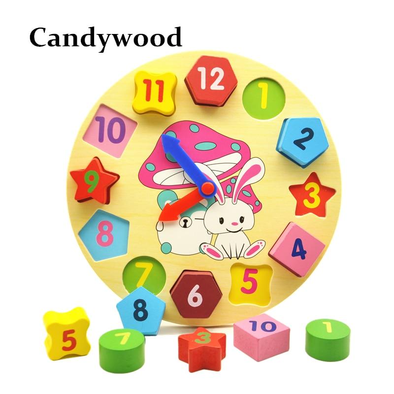 Träblock Leksaker Digital geometri Klocka Leksak Figurblock Barns Montessori Pedagogisk Leksak För Barn Bebisar