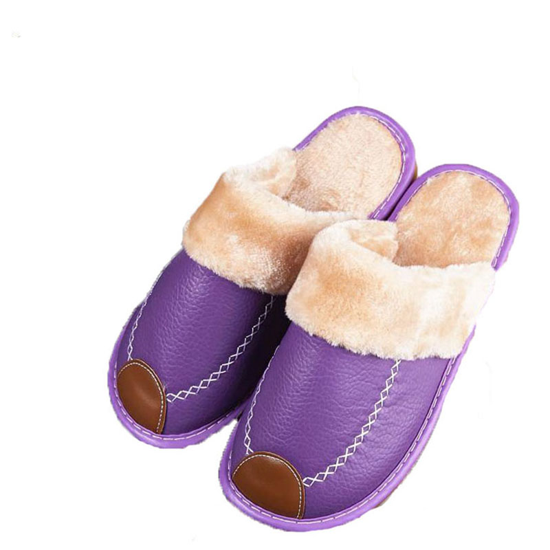 Winter in cotton slippers female household indoor warm skid platform confined plush leather slippers qiu dong the day