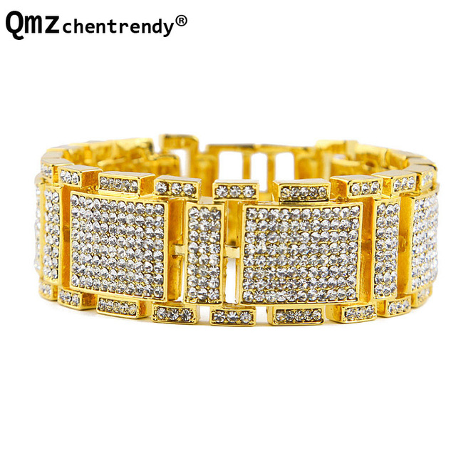 Exaggerated Punk Shiny Full Rhinestone I Bangle Hip Hop Bling Bracelet Wristbands Chains Link Bracelets Men