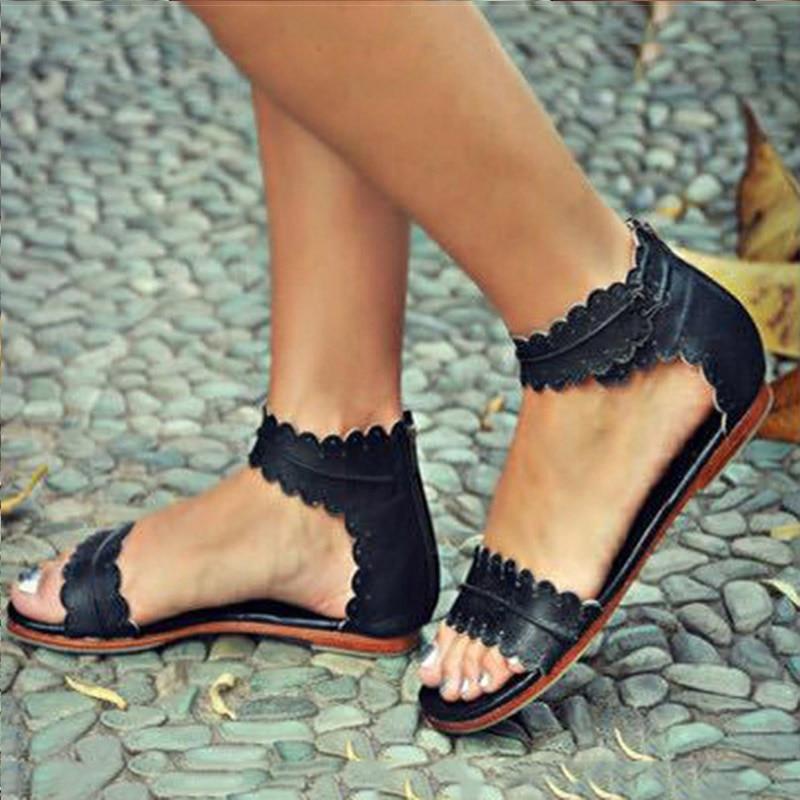Women Sandals Retro Flats Sandals For Women Summer Shoes 2018 New Women Open Toe Beach Shoes Female Zip Casual Sandalias 42 43