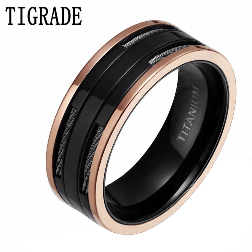 8mm Black Rose Gold Titanium Carbide Ring Stainless Steel Cables