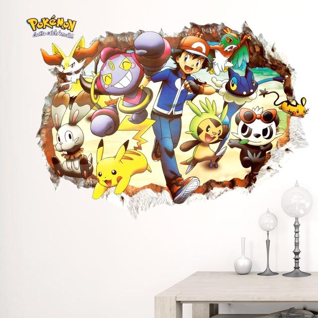 Autocollant mural rouge Pikachu de bande dessinée | stickers muraux pour animaux de compagnie, chambre denfants, bricolage stickers dart muraux, autocollants de Pokemon Go, affiches de jeu