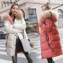 Parka Women Winter Coats Long Cotton Casual Fur Hooded Jackets Ladies Thicken Warm Winter Parkas Female Overcoat Women Coat цены