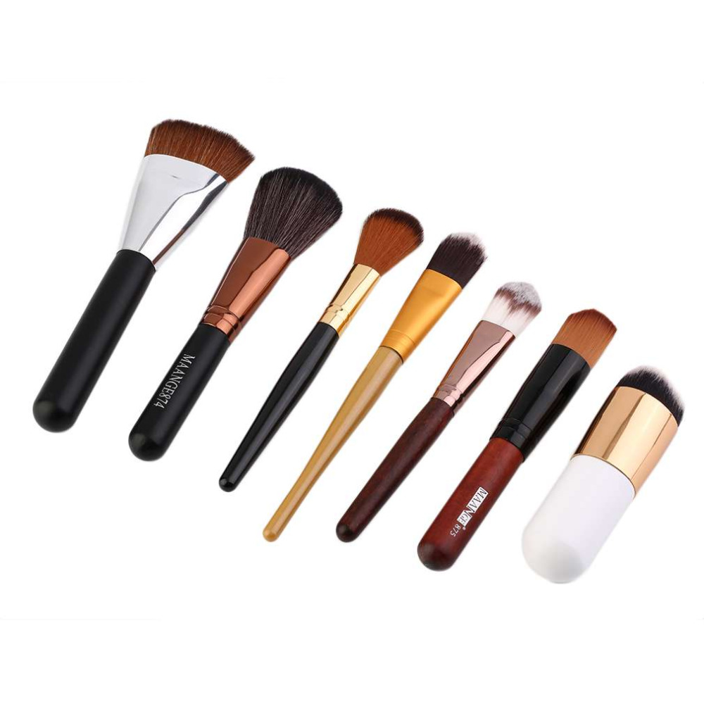 7Pcs/set Compact Women Lady Flat Makeup Brushes Sets Kit Facial Beauty Cosmetic Foundation Blush Make up Brush Cosmetics Tools hot sale 2016 soft beauty woolen 24 pcs cosmetic kit makeup brush set tools make up make up brush with case drop shipping 31