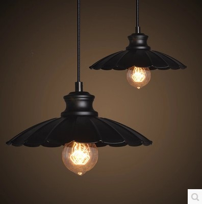 ФОТО 60w Retro Loft Style Edison Vintage Lamp Industrial Pendant Lighting Fixtures with Black Lampshade,Lustre Para Quarto