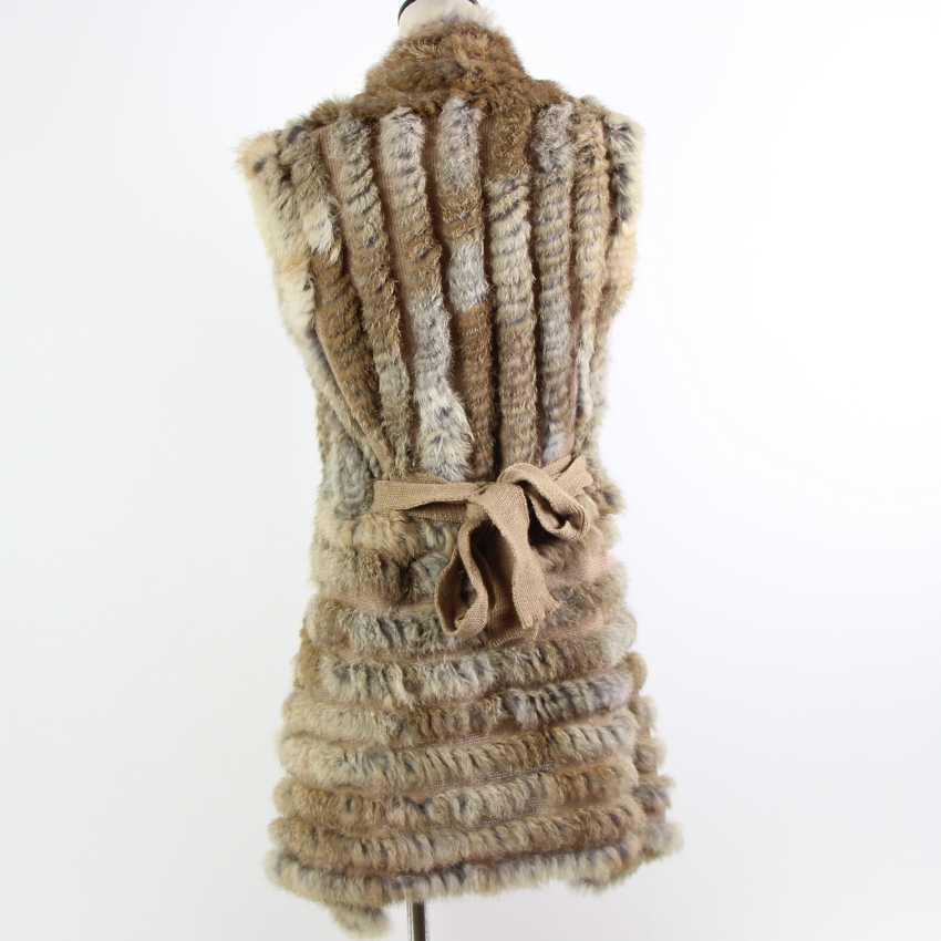 Sonbahar sıcak satış örme doğal kürk şal tavşan kürk yelek moda kürk pelerin tavşan kürk panço ile kemer kadın sweatet