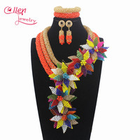 Luxury Flowers Fall Pendant Necklace sets Red Crystal nigerian Wedding Beads Gift african beads Jewelry Sets W13278