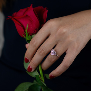 Image 5 - Rainbamabom bague en argent Sterling 925, bracelet en diamant, bijoux en forme de cœur damour créé, pierres précieuses, mariage, vente en gros