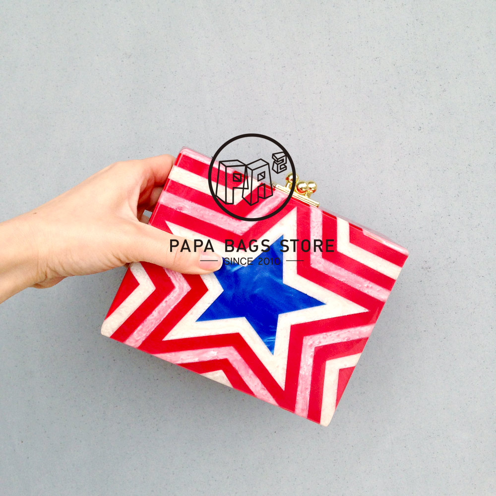 New Stars stripe stitching red acrylic box mini clutch evening bag fashion handbags shoulder bag messenger bag party gifts etersto2018 new casual fashion stitching hit color handbags new fashion handbags parker women s party wallets ms messenger bag