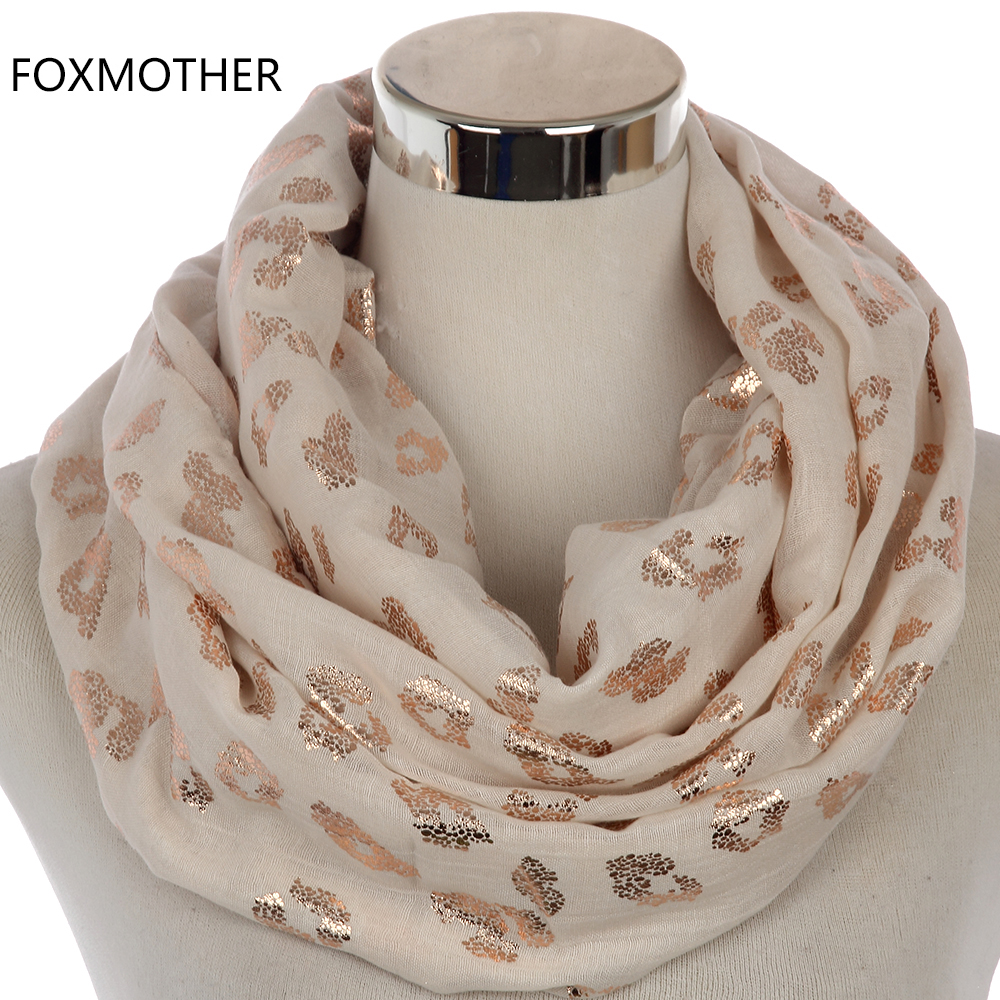 FOXMOTHER 2018 New Fashionable Shiny Ladies Black Pink Bronzing Foil Rose Gold Leopard Infinity Scarf Snood Women Mother Gifts