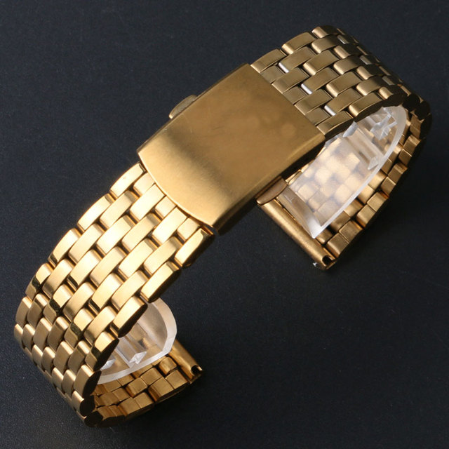 18/20/22MM Luxury Golden Stainless Steel Watch Band Men Male Watches Replacement