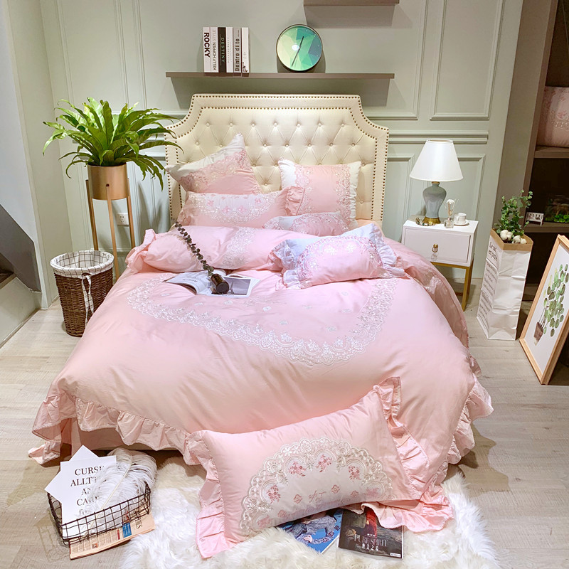 Pink  Luxury 100% Egyptian Cotton Bedding Sets Queen King Size 4pcs Duvet Cover Bed/Flat Sheet Fitted Sheet set PillowcasePink  Luxury 100% Egyptian Cotton Bedding Sets Queen King Size 4pcs Duvet Cover Bed/Flat Sheet Fitted Sheet set Pillowcase