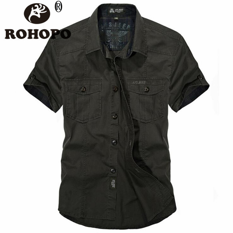 Military Shirt Men Short Sleeve Cotton Solid Shirts S To 4XL Militar Style Clothing Vintage Man Sportswear Army Cargo Shirt