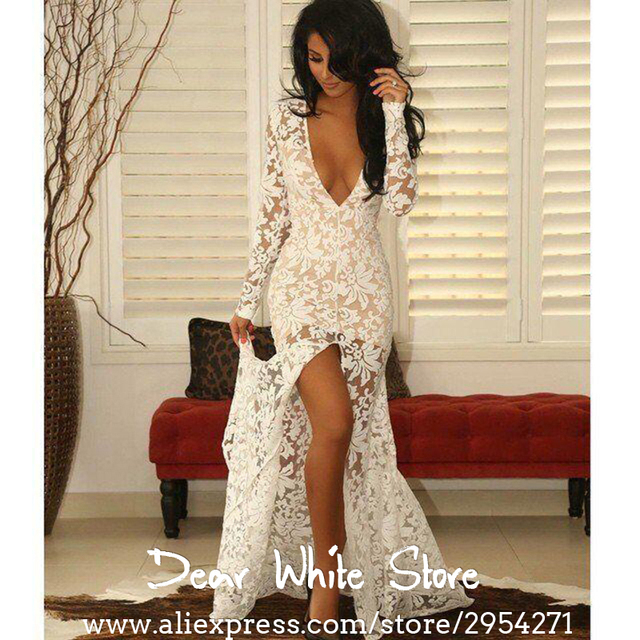 386e5e42495 Cheap African White Long Sleeve Prom Dresses 2017 Plunging V Neck With HIgh  Slit Lace Formal Dresses Robe De Soiree