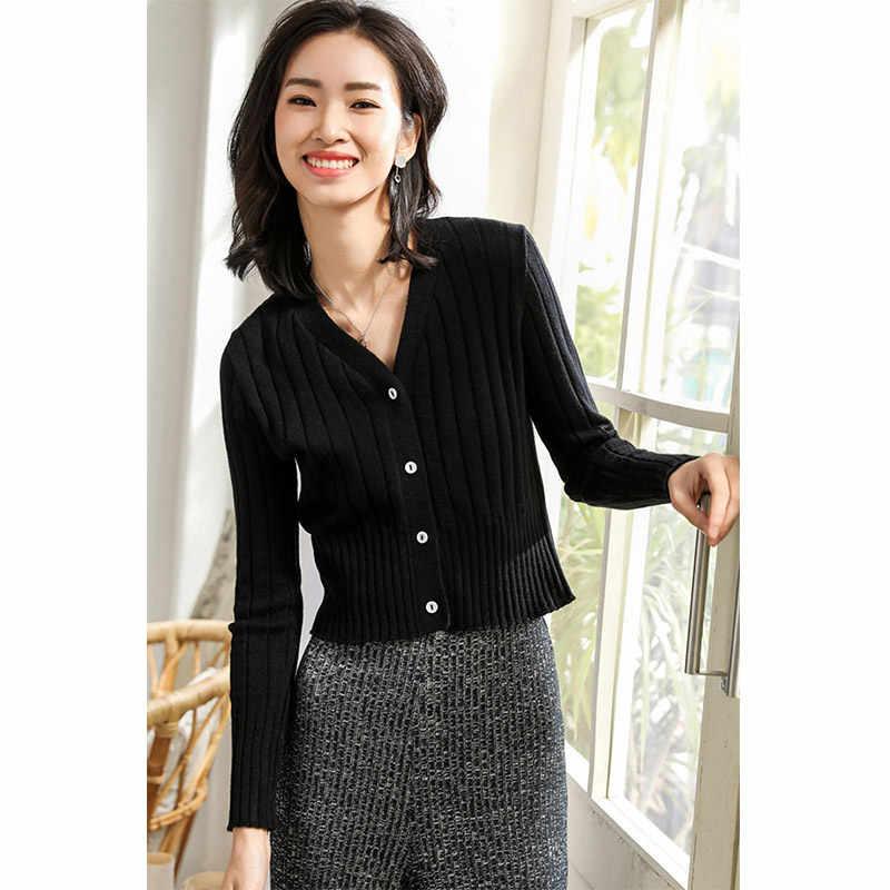 Специальное предложение 2019 весна женские ребристые 100% шерсть простой кардиган тонкий женский вязаный укороченный свитер кардиганы Твердые v-образным вырезом черный