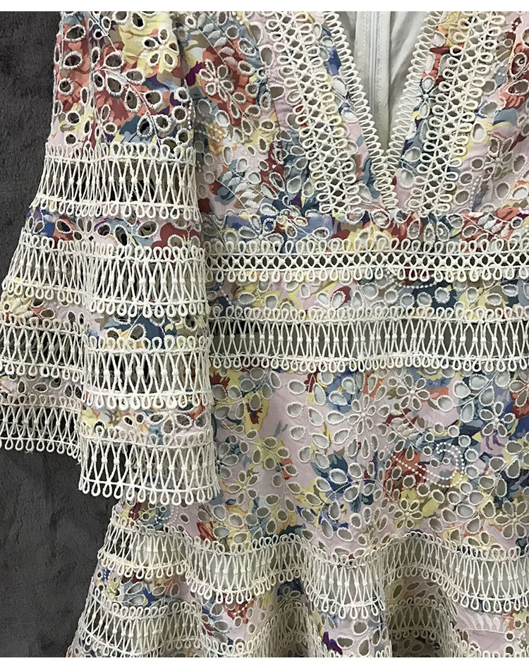 TANG New High Quality Embroidery Summer Dress 2019 Vintage Hollow Out Mini Dress Slim High Waist Flare Sleeve Dresses (5)