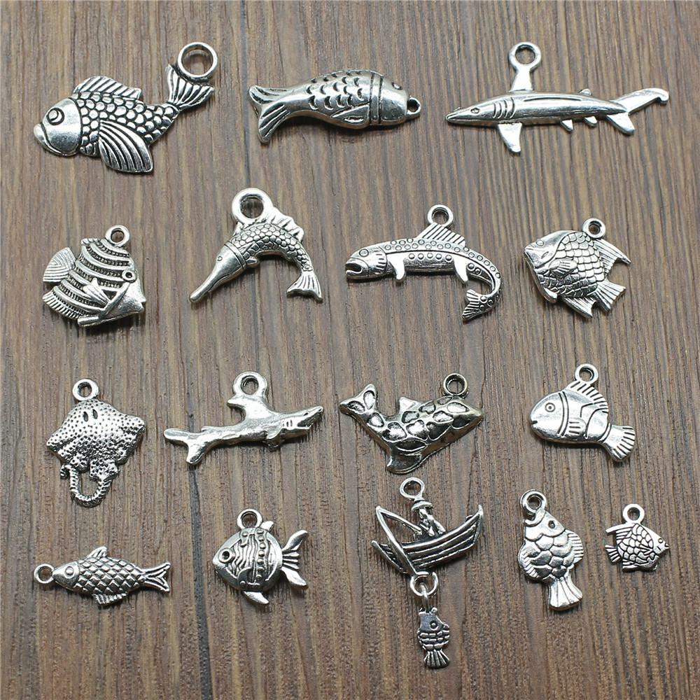 15pcslot Fish Charms Antique Silver Color Tropical Fish Charms Pendants For Bracelets Fish Charms Making Jewelry