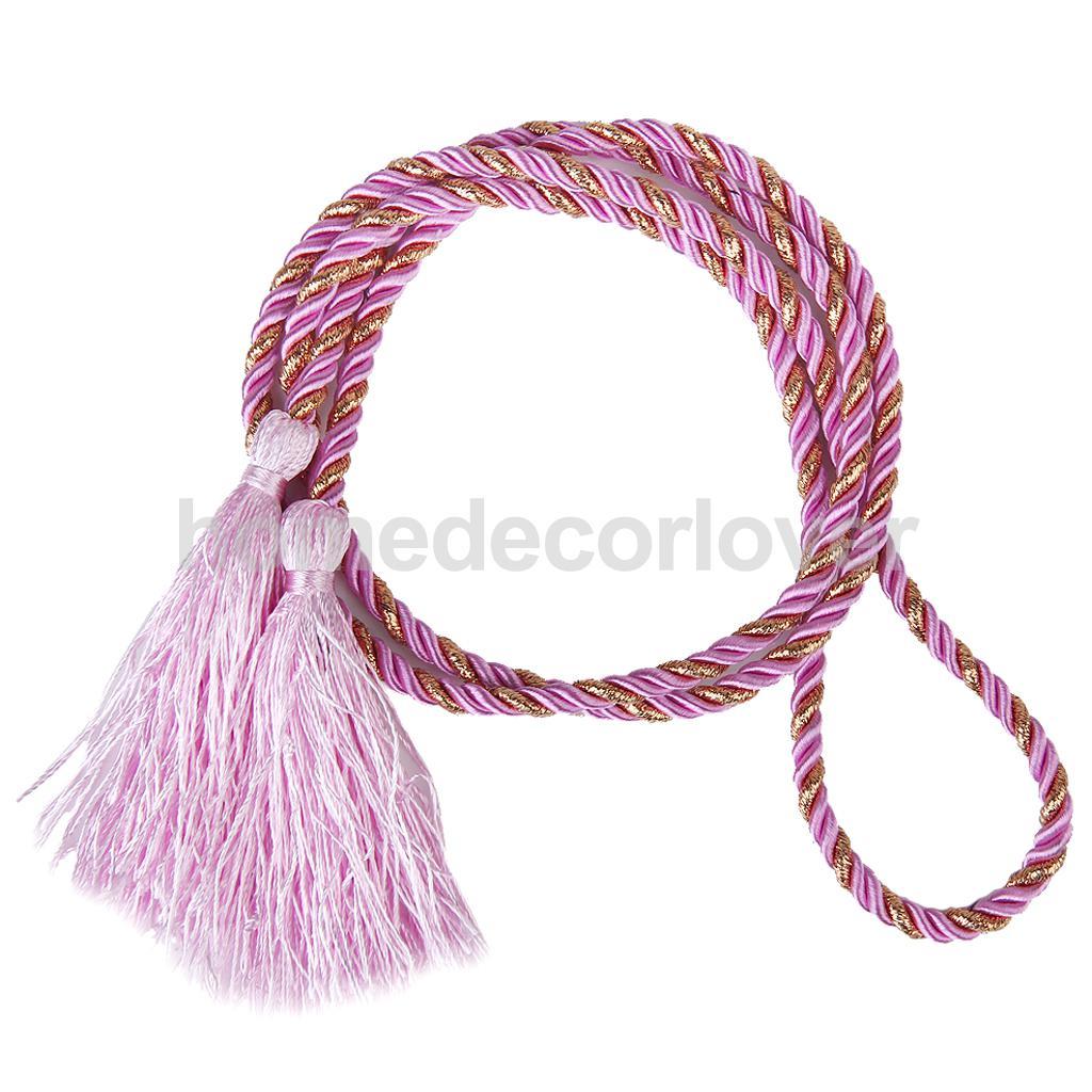 1 Pair Pink Nylon Tassel Rope Cord Window Curtain Fringe