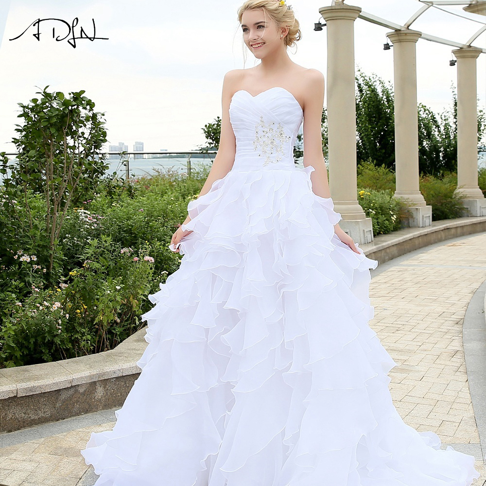 ADLN Stock Ball Gowns Wedding Dresses With Ruffles White Ivory Organza Beaded Plus Size Bridal Dress Robe De Mairee