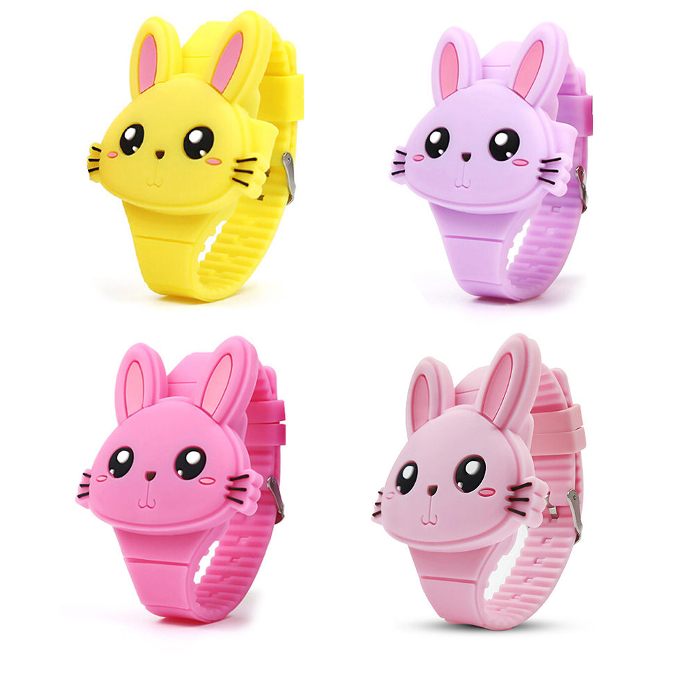 Fashion Cartoon LED Kids Watch 3D Rabbit Dial Children Watch For Girl Boy Baby Clock Cute Animal Wristwatch Montre Enfant