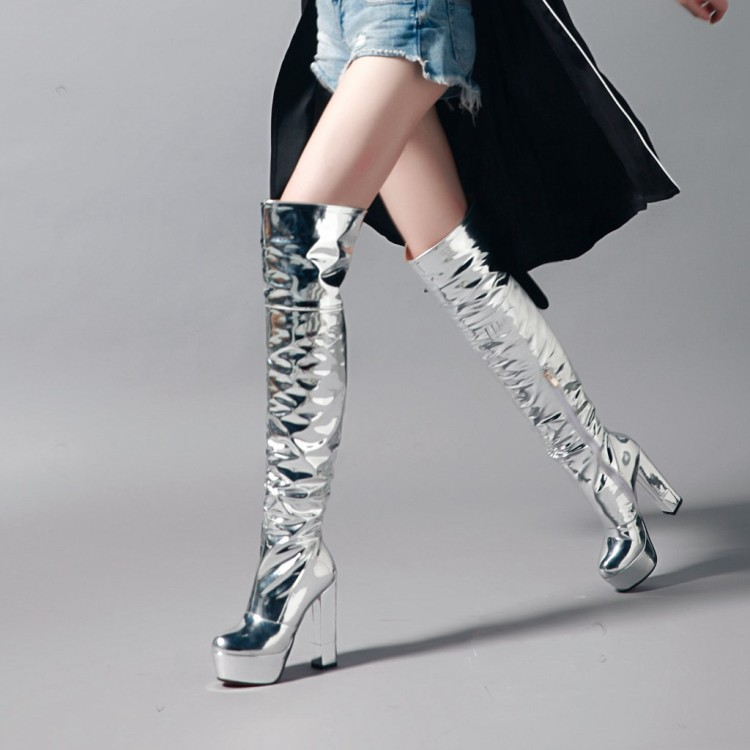 PXELENA Sexy Silver Sequined Women Over The Knee Boots Chunky Block Super High Heels Nightclub Party