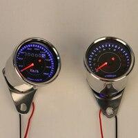 Stainless Steel Motorbike LED Glow Odometer Speedometer Tachometer Speedo Meter For Honda Harley Kawasaki Suzuki Yamaha