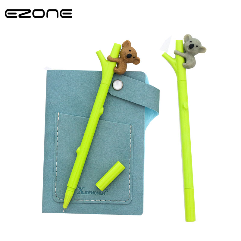 EZONE 2PCS/Set Cute koala Bear Gel Ink Pens for Writing Black Pen 0.5mm Caneta Lovely Kawaii Stationery Office School Supplies