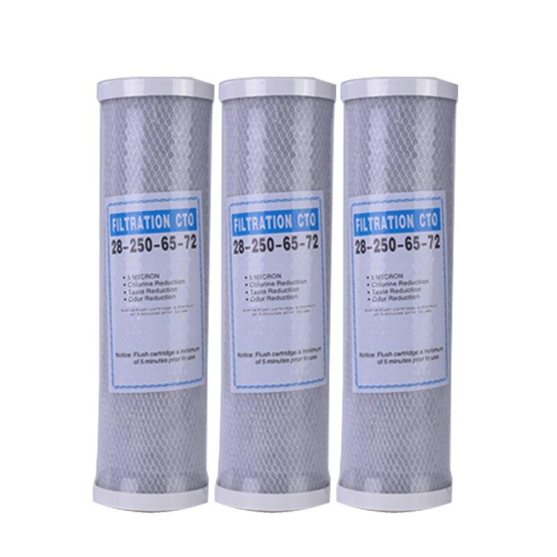 3 قطعة تصفية المياه الكربون المنشط مرشح خرطوشة 10 بوصة خرطوشة استبدال لتنقية CTO كتلة الكربون تصفية المياه