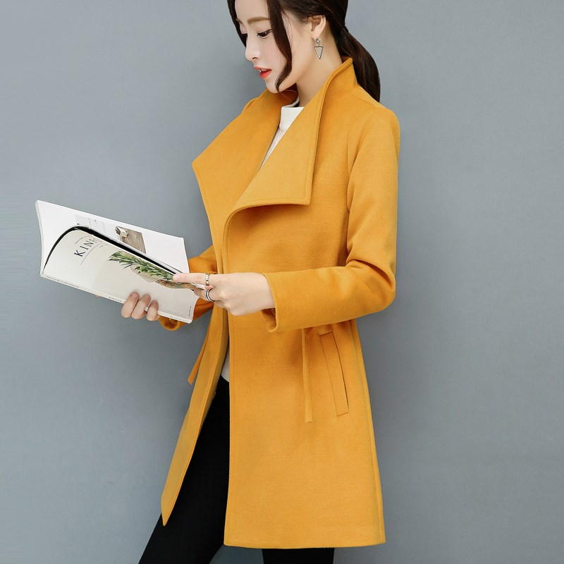2018 New Autumn Winter Women   Trench   Coats Elegant Pockets Lace-Up Slim Outerwear Femme Single Button Long Bodycon Overcoat