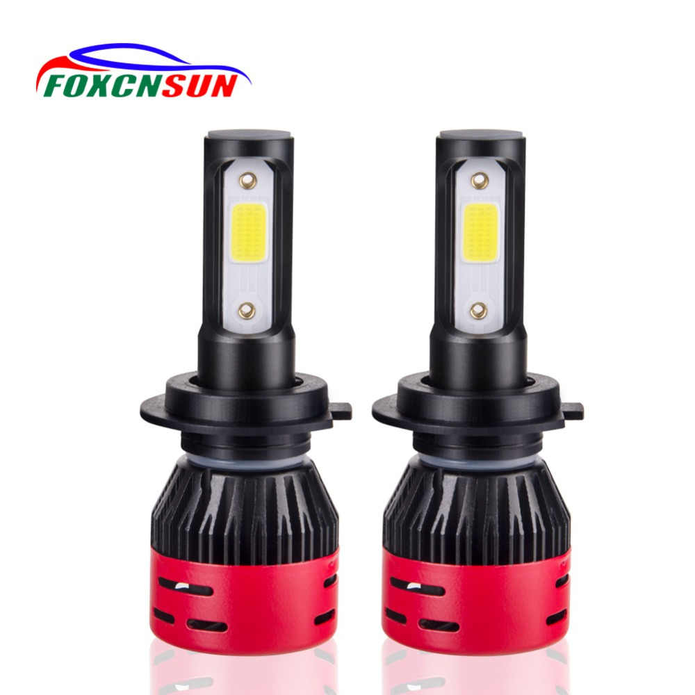 Foxcnsun H4 LED H7 H11 H8 HB4 H1 H3 HB3 H9 9005 9006 Auto mini Car Headlight Bulbs 72W 8000LM Car Styling 6500K led automotivo