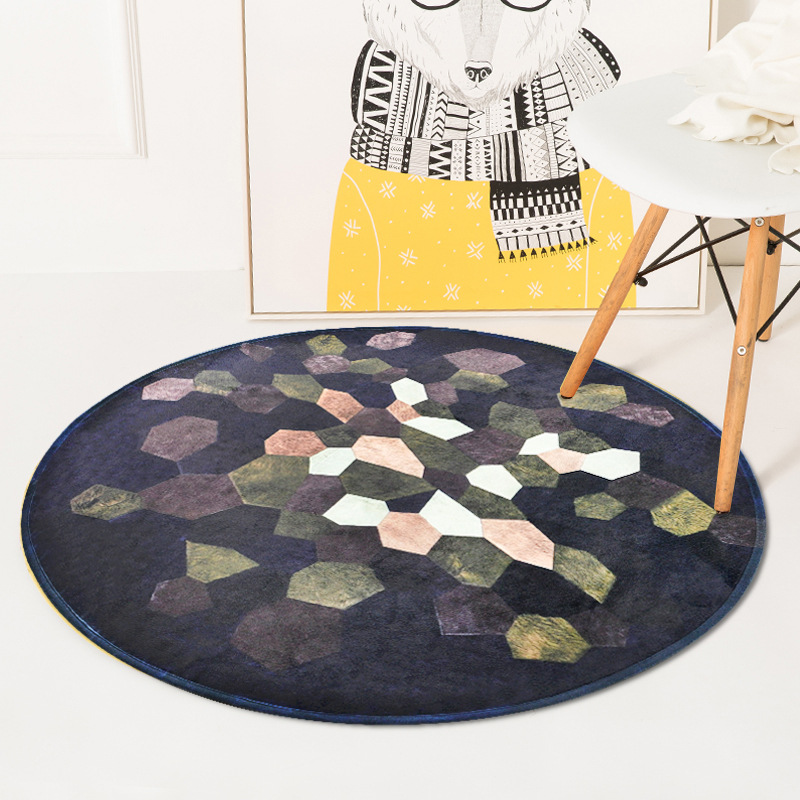 Splicing Style Carpet for Bedroom Round Rug for Kids Soft Round Floor Mat of Sofa Bedside Round Rug Kids Play Mat Anti Slip Pad