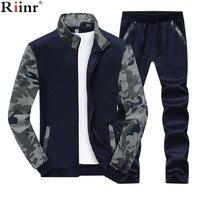 Riinr 2018 Spring Men Set Quality Fleece Sweatshirt + Pants Male Tracksuit Sporting Sweat Suits Mens Survetement Sportswear