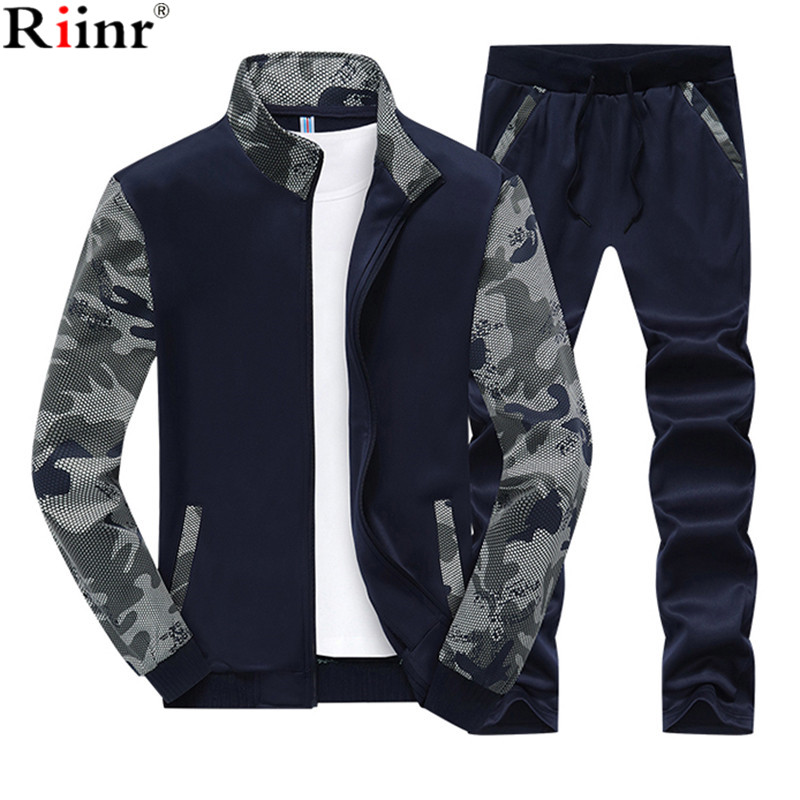 Riinr 2018 Spring Men Set Quality Fleece Sweatshirt + Pants Male Tracksuit Sporting Sweat Suits Mens Survetement Sportswear