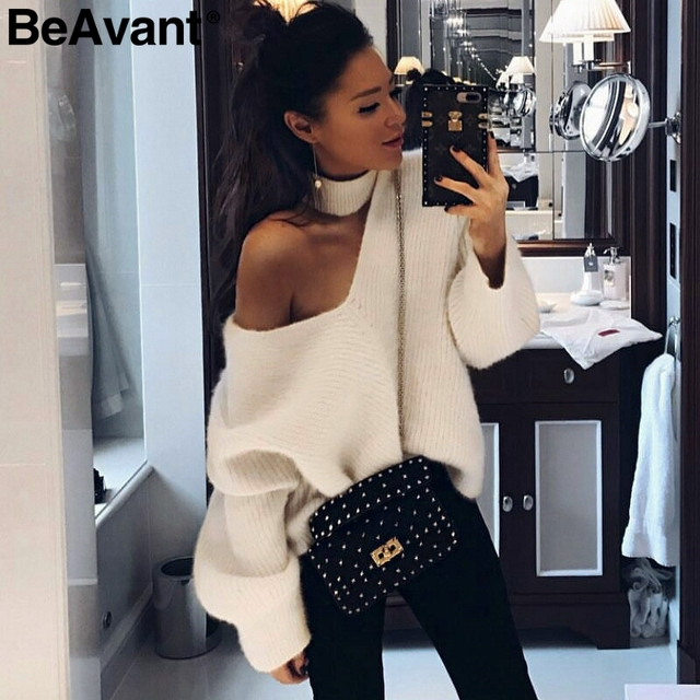 BeAvant Cold shoulder halter knitted sweater female Casual autumn winter sweater women knit Blue pullover jumper pull femme 2018