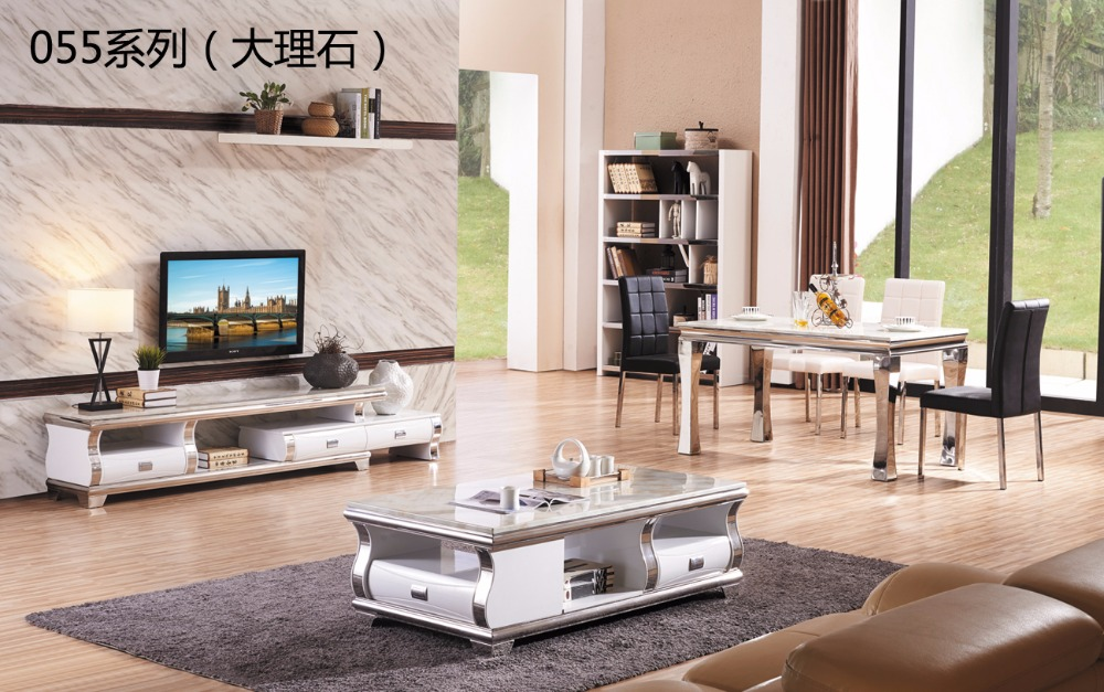 CJTV055 Minimalist Modern living room piano paint marble surface TV stand cabinet coffee tea table dinning table furniture set furniture parlor marble combination wood adjustable tv cabinet coffee table