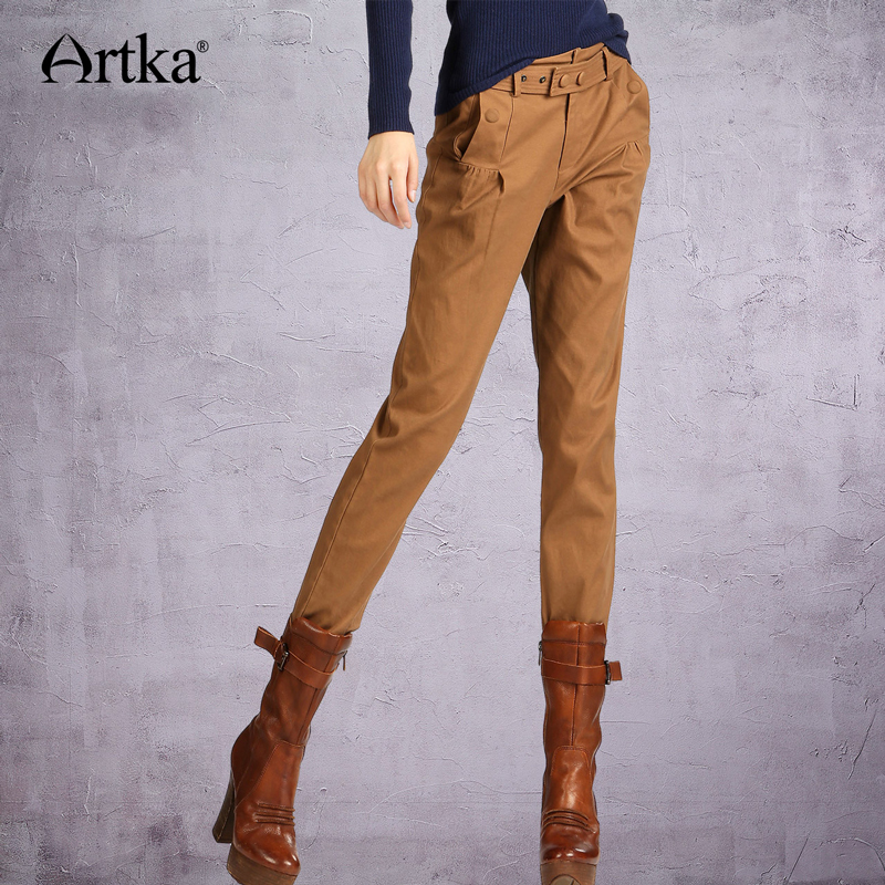 ARTKA Women s Summer Slim Fit All match Brown Belted Waist Pleated Cotton Skinny Pencil Jeans