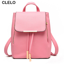 CLELO Backpack Women 2017 Casual Leather Bag Female Summer Big Backpack For School Teenagers Girls Designer Drawstring Bags Pink