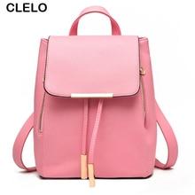 Clelo рюкзак 2017, женская обувь повседневная кожаная сумка женская летняя Большой рюкзак для школы для девочек-подростков дизайнер drawstring Сумки розовый