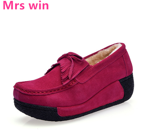 Autumn and winter women sneakers outdoor cashmere warm skateboarding shoes Bow tie Ribbon Genuine Leather women shoes