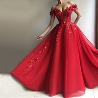 Red Muslim Evening Dresses 2019 V Neck Sequin Lace Beaded Tulle Off the Shoulder Ball Gown Dubai Saudi Arabic Long Evening Gowns
