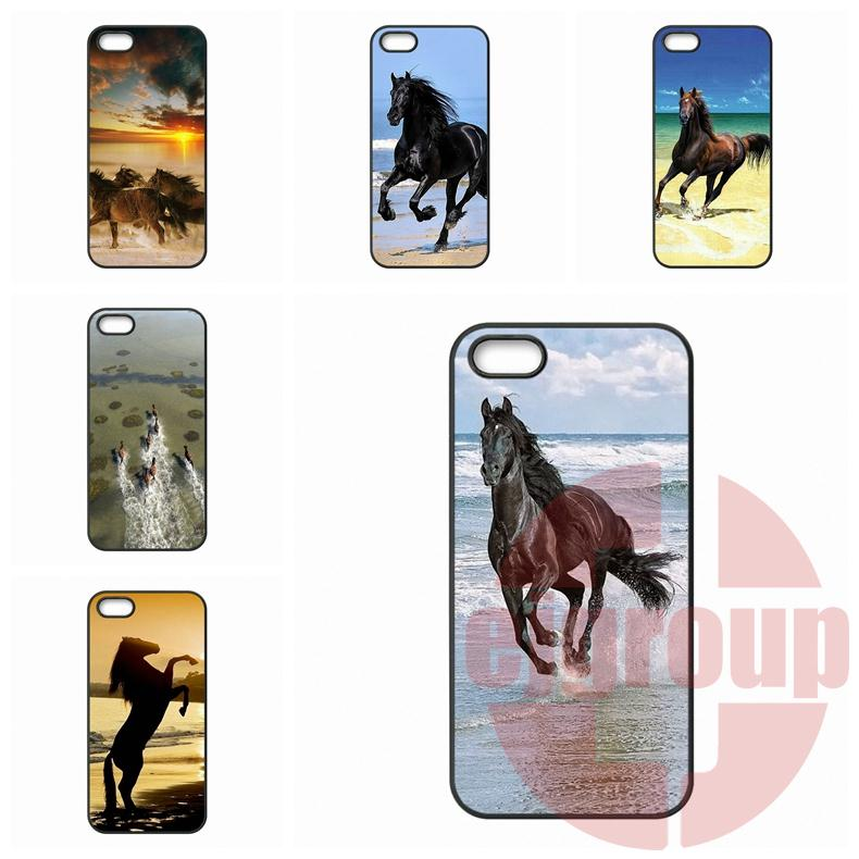 For Apple iPhone 4 4S 5 5C SE 6 6S Plus 4.7 5.5 iPod Touch 4 5 6 Horses Running On The Beach Case Capa Cover