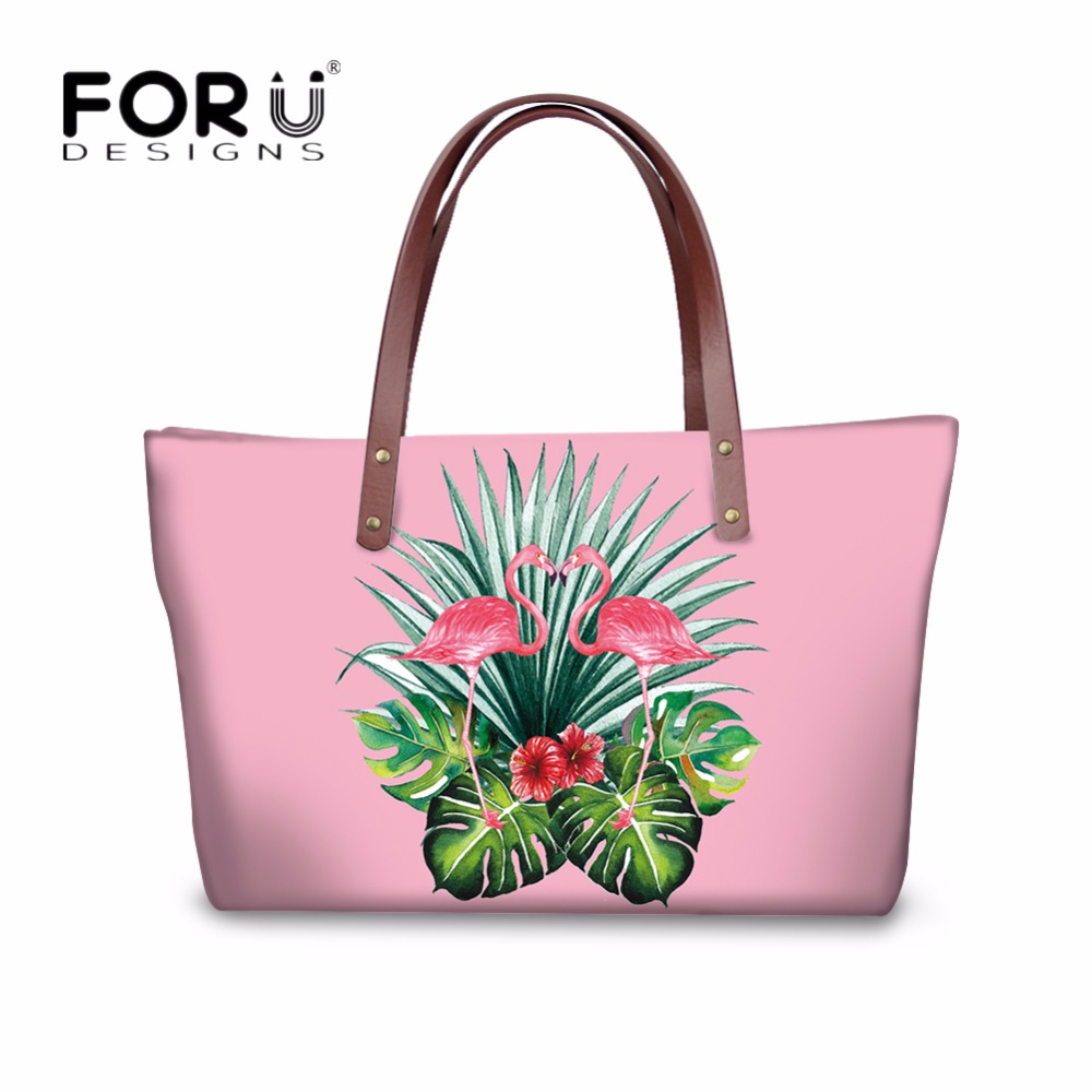 FORUDESIGNS Luxury Handbags Women Messenger Bags Pink Women's Casual Tote Shoulder Bags 3D Tropical Flamingo Prints Female Bags 42 xdzs 260 elegant pink flamingo print art