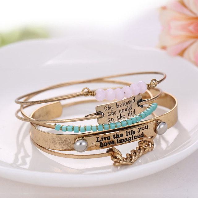 eManco Gold plated bangle multi-layer open cuff alloy bracelets & bangles for women crystal beads brazaletes pulseras mujer